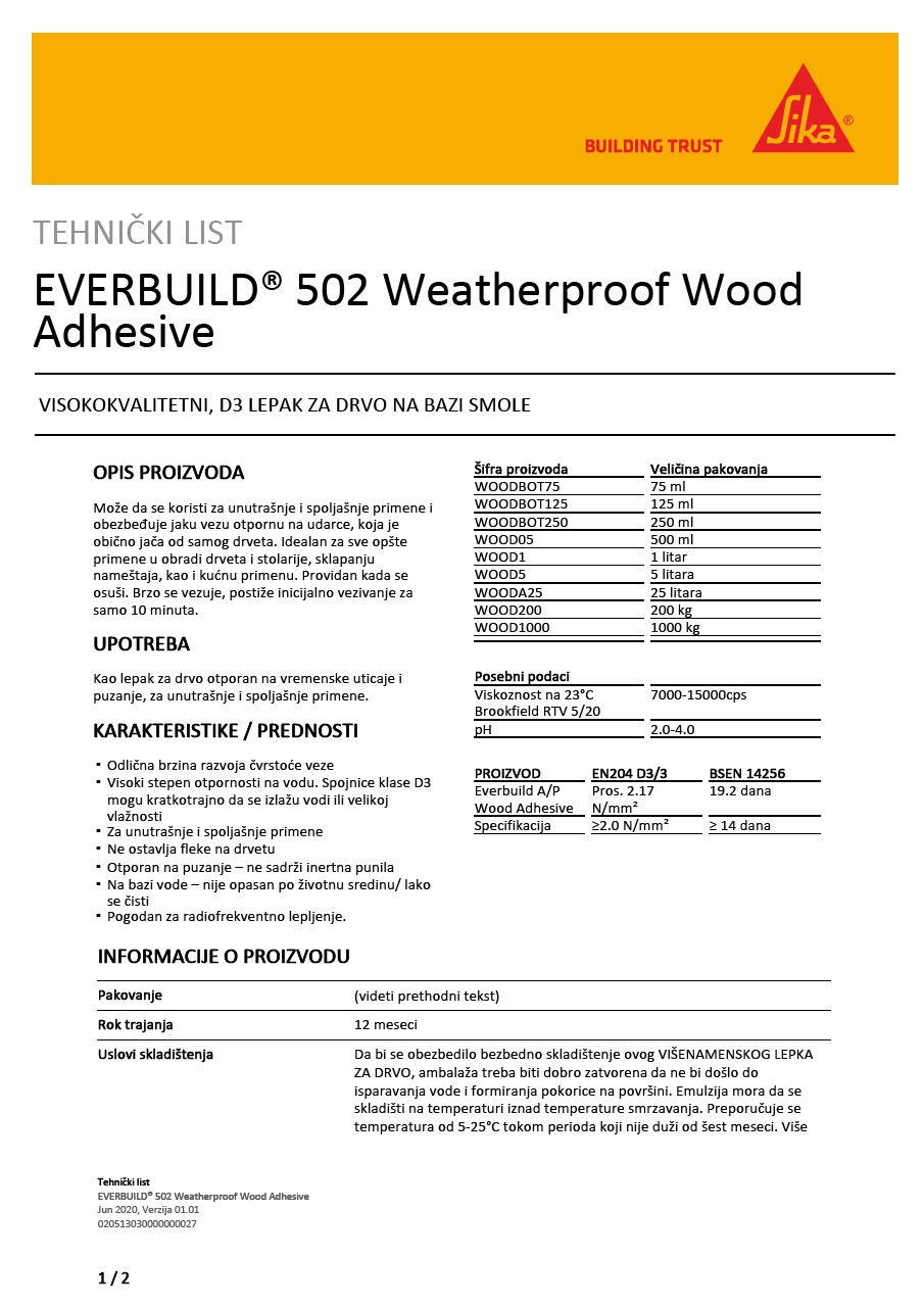 EVERBUILD® 502 Weatherproof Wood Adhesive